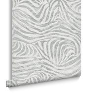 Zebra White and Grey Wallpaper, , large