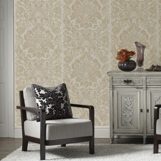 Gloriana Oyster Metallic Wallpaper, , large