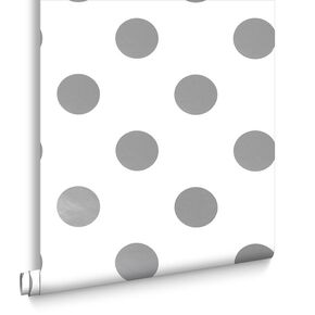 Silver Dotty Wallpaper, , large