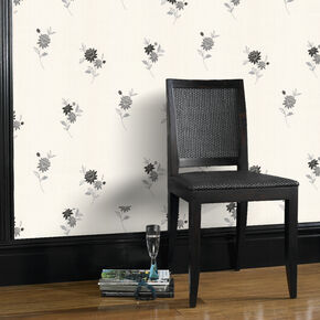 Rosalyn Black and White Wallpaper, , large