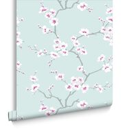 Apple Blossom Tree Teal Wallpaper, , large