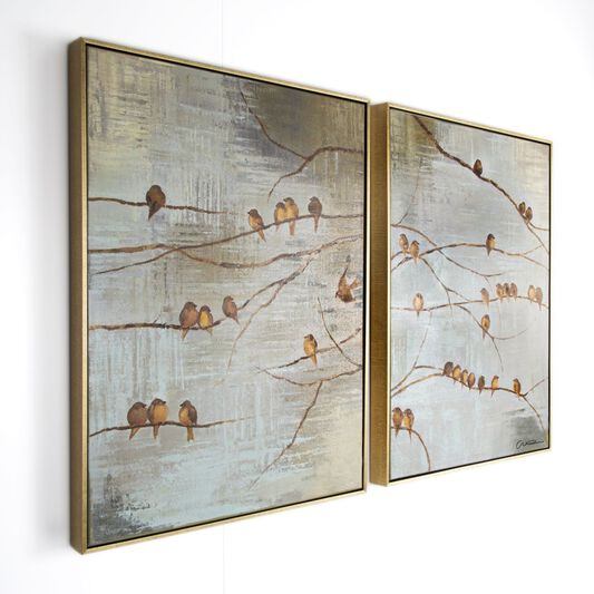 Handbemalte gerahmte Leinwand Flock Of Birds, , large