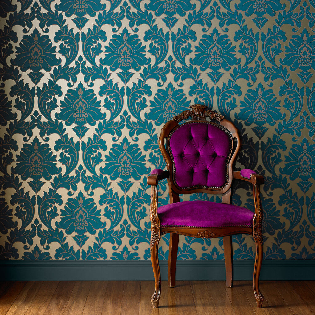 Majestic teal wallpaper damask wallpaper graham brown for Wallpaper for large rooms