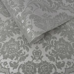 Gothic Damask Flock Grey & Silver Wallpaper