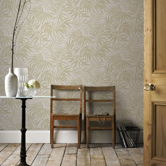 Tropic Taupe and Gold Wallpaper, , large