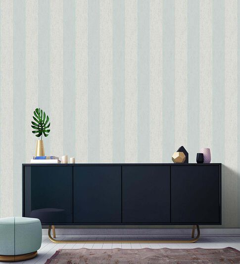 Mercury Stripe Duck Egg Wallpaper, , large