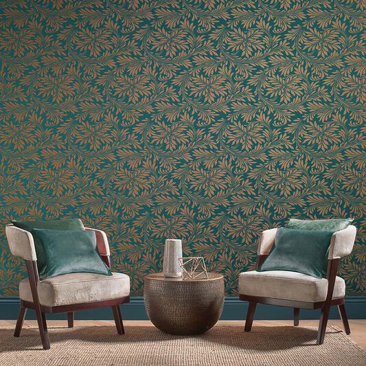 Forest Spiced Teal Wallpaper, , large