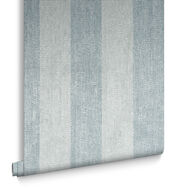 Water Silk Stripe Teal & Silver Wallpaper, , large