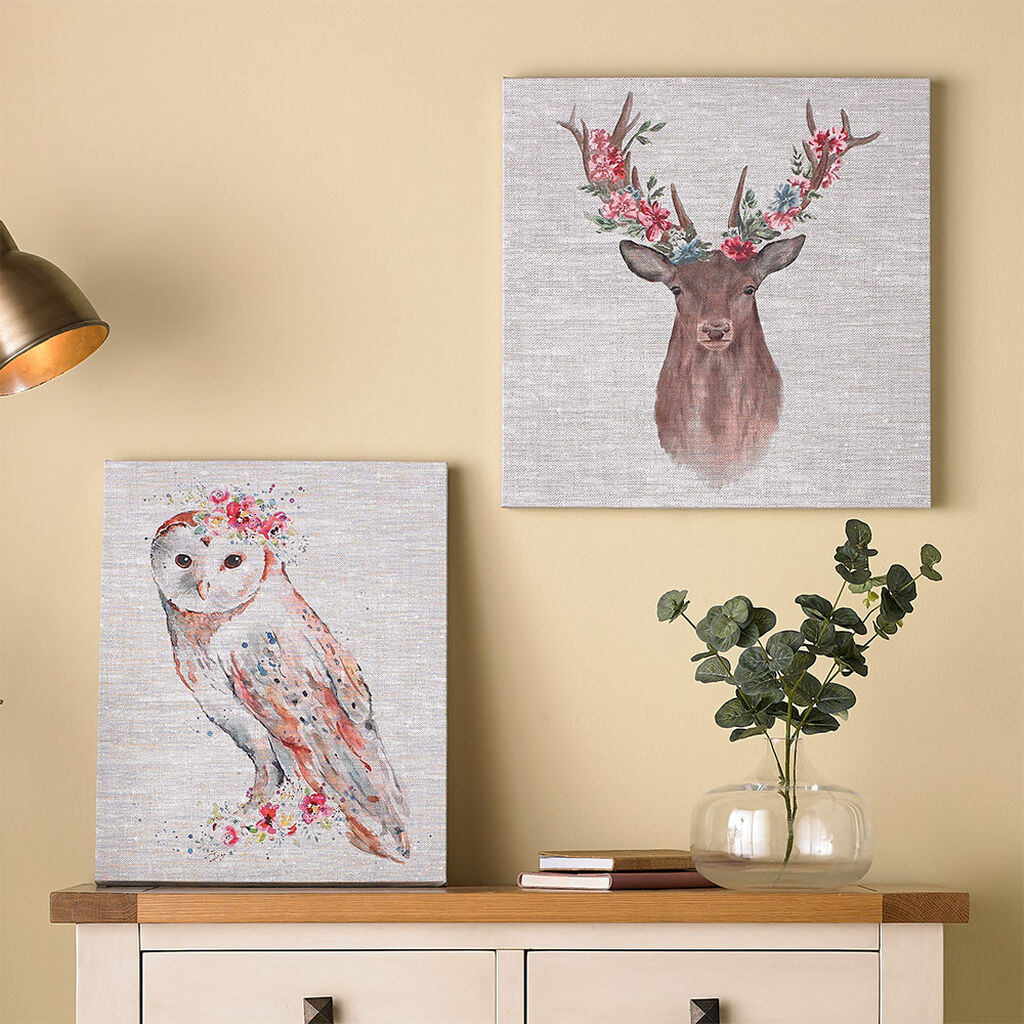 Floral Stag Printed Canvas Wall Art, , large