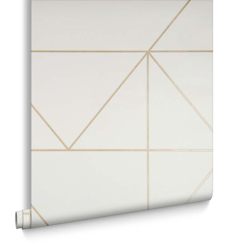 Geo Cream and Gold Wallpaper, , large