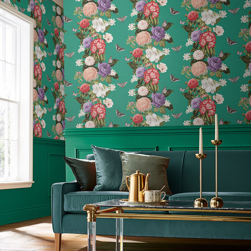 Bloomsbury Emerald Wallpaper, , large