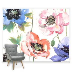 Couture Watercolour Poppies Ready Made Mural, , large