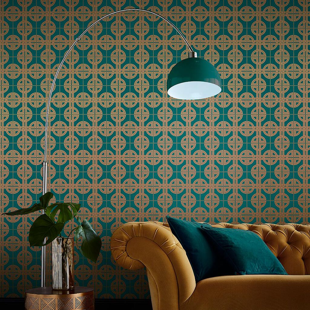 Asian Lattice Teal Behang, , large