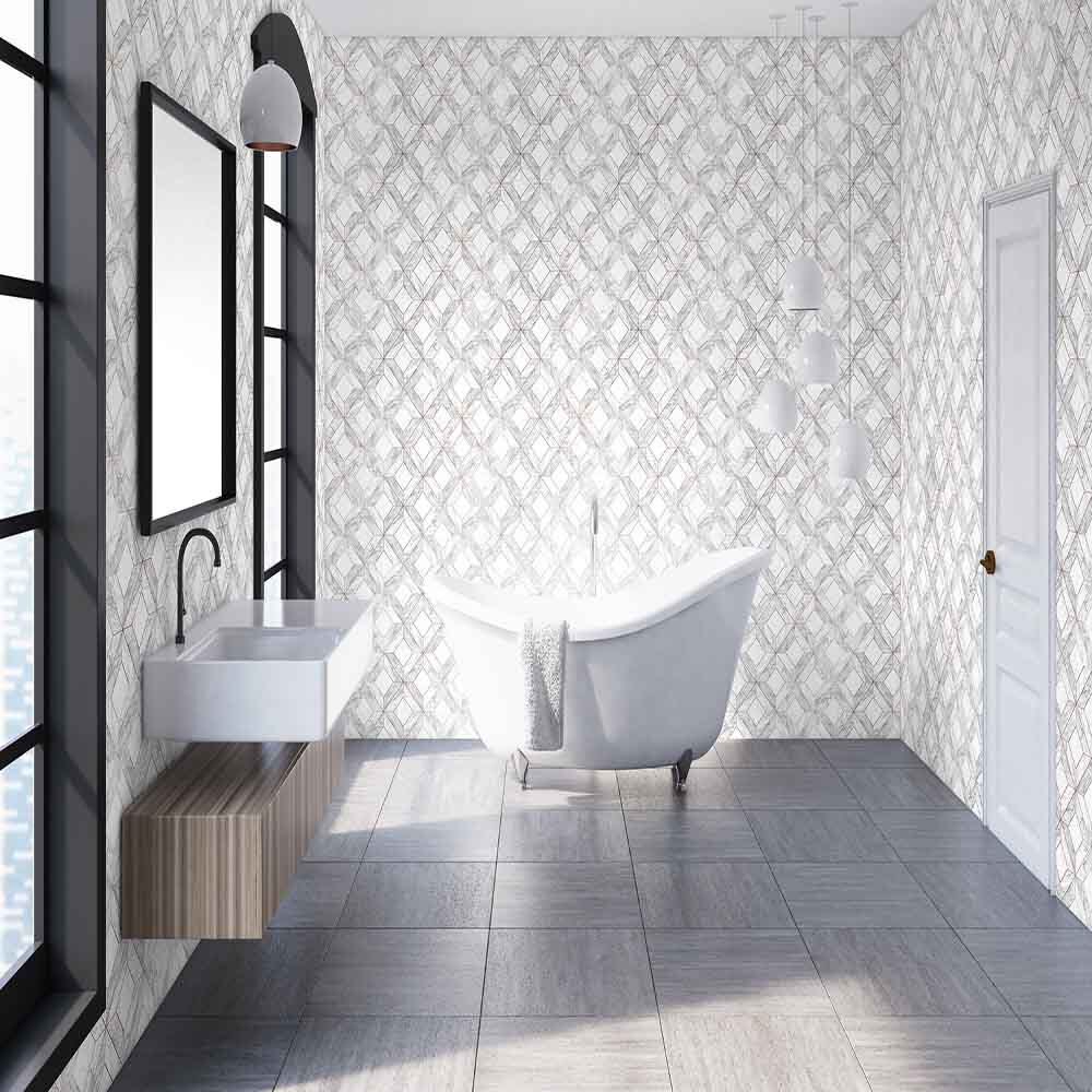 Merveilleux ... Large Marble Marquetry White U0026 Rose Gold Wallpaper , ...