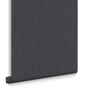 Crushed Silk Black Behang, , large
