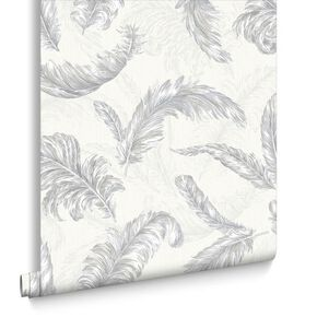 Gilded Feather White and Silver Wallpaper, , large