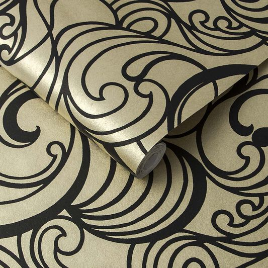 Hula Swirl Guilded Wallpaper, , large