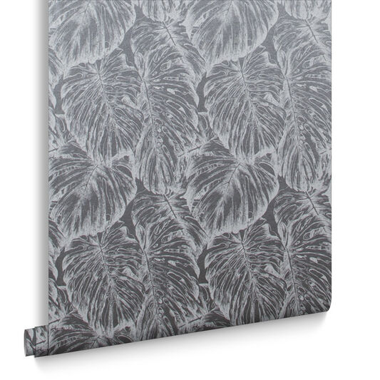 Tropical Pewter Wallpaper, , large