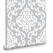 Indian Ink Damask Grey Mist Behang, , large