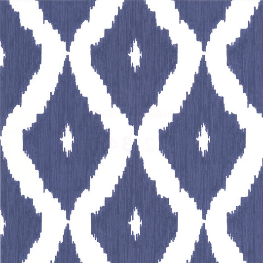 Kelly's Ikat White and Prussian Blue Wallpaper, , large