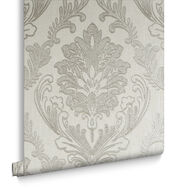 Corsetto Damask Ivory Wallpaper, , large