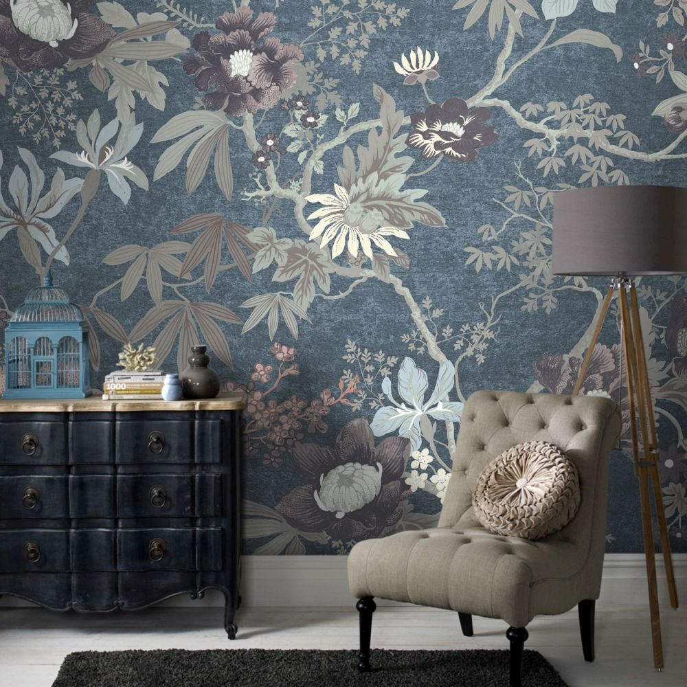 wall murals uk bedroom, kitchen \u0026 living room wall muralslarge couture kimono teal ready made mural,
