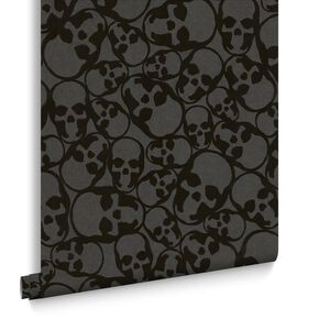 Skulls Flock Black Behang, , large