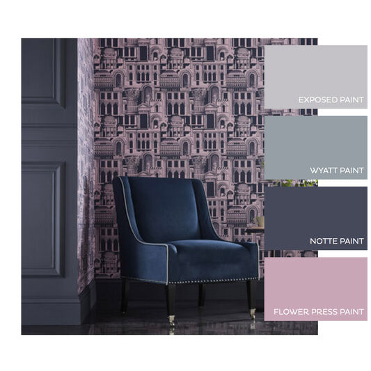 Quarters Rose & Navy Wallpaper, , large