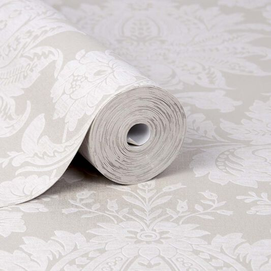 Venetian Damask Taupe Wallpaper, , large