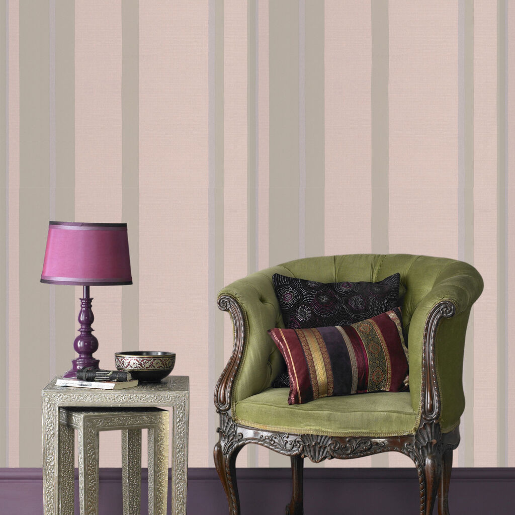 Hoppen Stripe Taupe and Moss Wallpaper, , large
