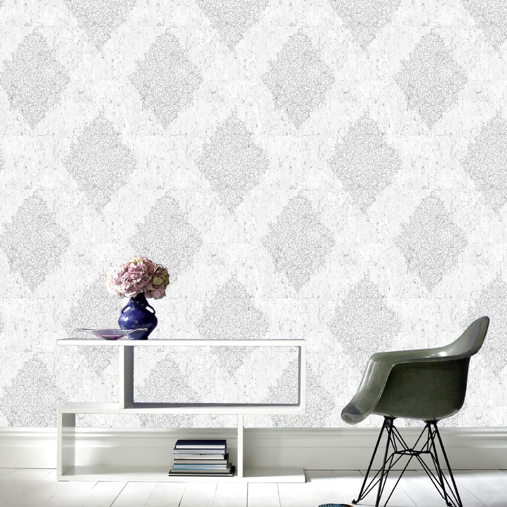 Light Grey & Silver Cork Medallion Wallpaper, , large