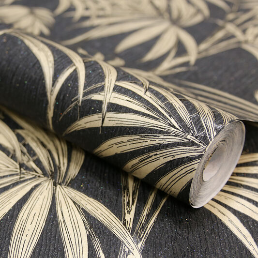 Honolulu Black and Gold Wallpaper, , large