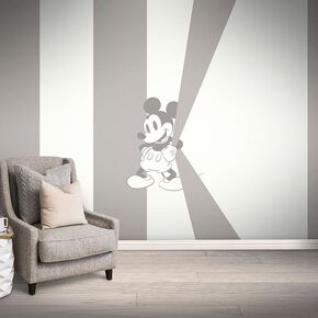 Mickey Mischief Taupe Bespoke Mural, , large