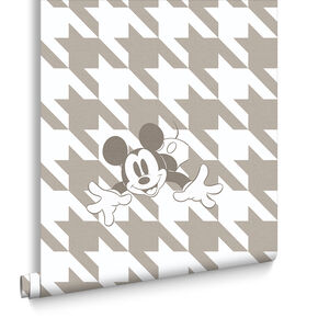 Mickey Houndstooth Taupe Wallpaper, , large