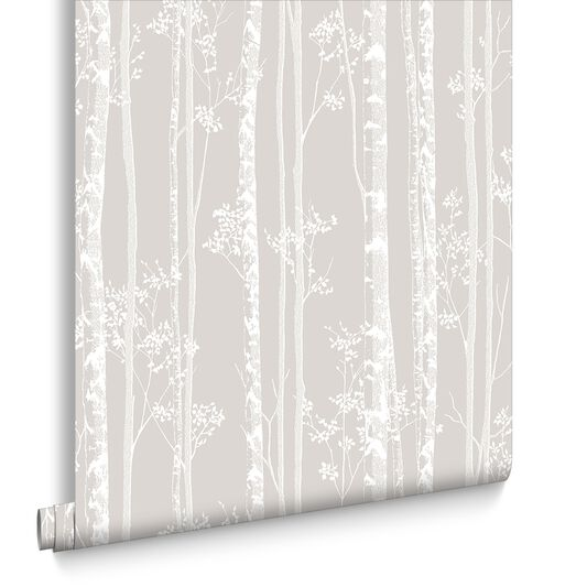Linden Beige and White Wallpaper, , large