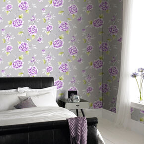 Chinese Blossom Grey and Purple Wallpaper, , large