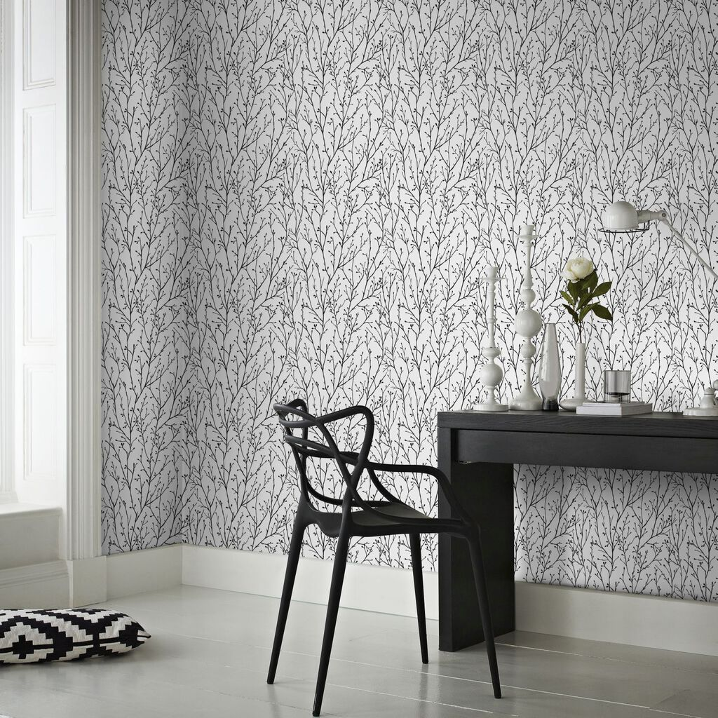 Willamena Black & White Wallpaper, , large