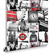 London Montage Black and Red Wallpaper, , large