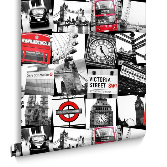 London montage black and red wallpaper