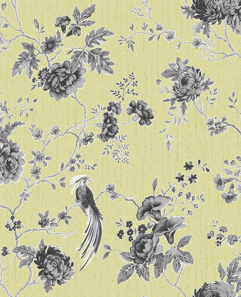 Exotica Green and Grey Wallpaper, , large