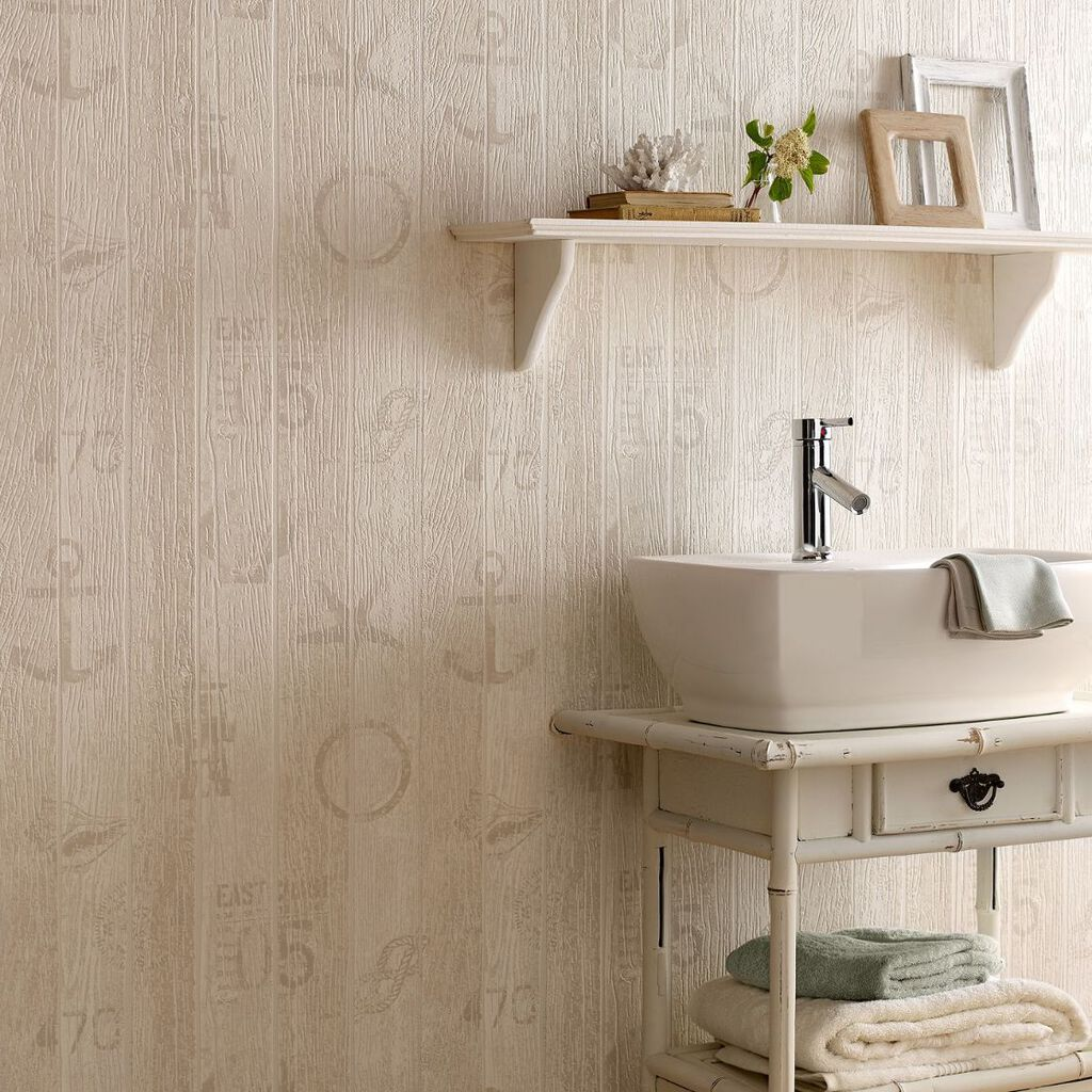 Nautical Beige Wallpaper, , large