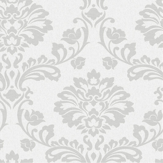 Aurora White and Silver Wallpaper, , large