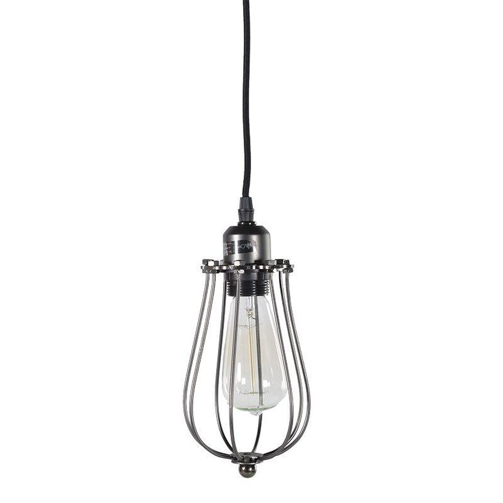 Black Caged Wire Ceiling Light, , large