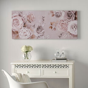 Mixed Media Rose Trail Printed Canvas Wall Art , , large