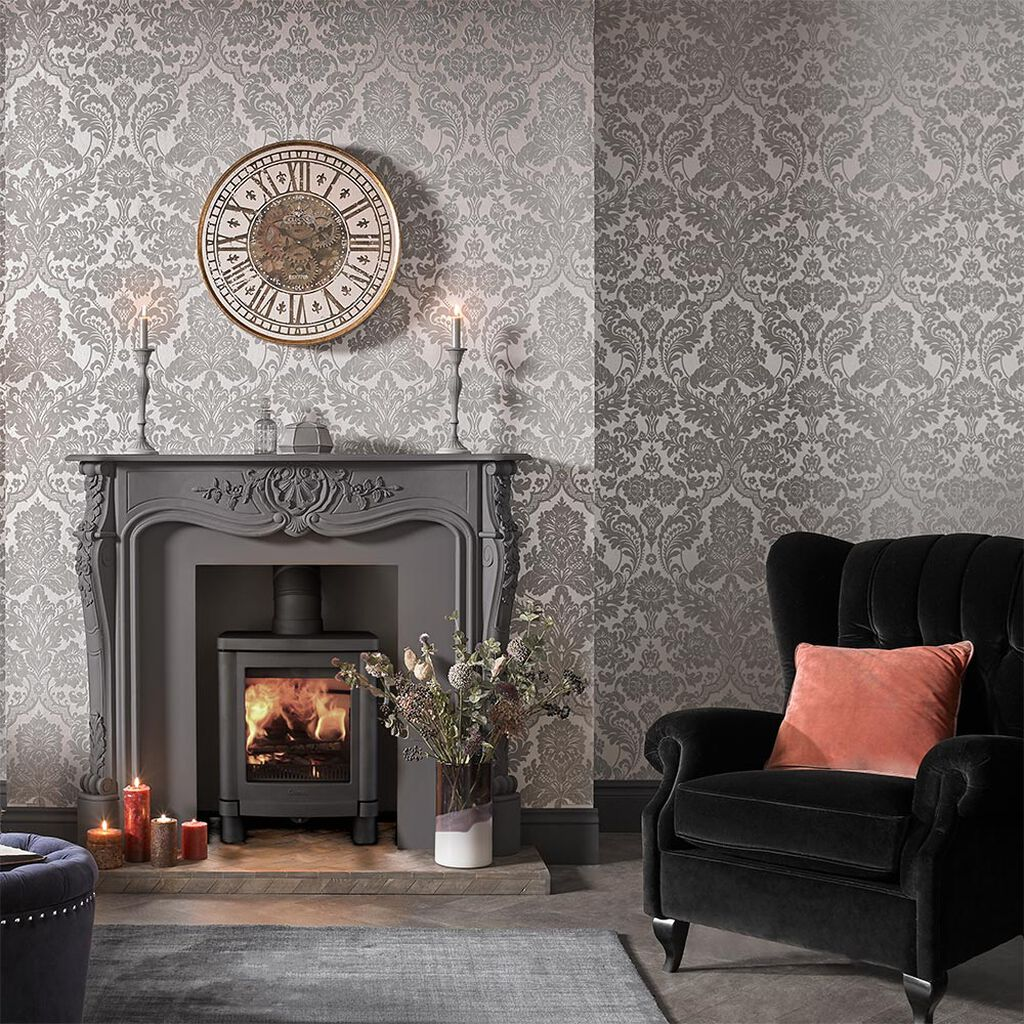 Gothic damask flock grey silver wallpaper grahambrownau for Silver wallpaper living room
