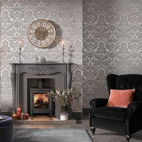 Gothic Damask Flock Gray & Silver Wallpaper , , large