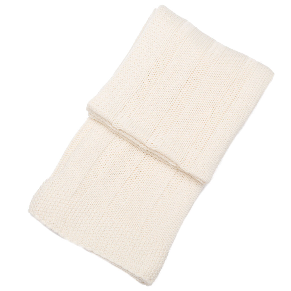 Cambridge Cream Striped Knitted Throw, , large
