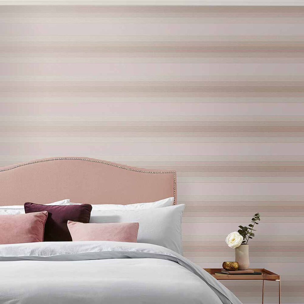 Lagom Stripe Blush & Rose Gold Behang, , large