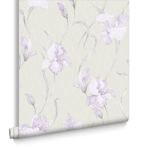Iris Grey and Lilac Wallpaper, , large