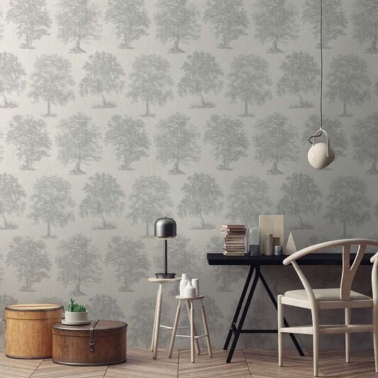 Enchanted Tree Silver Wallpaper, , large